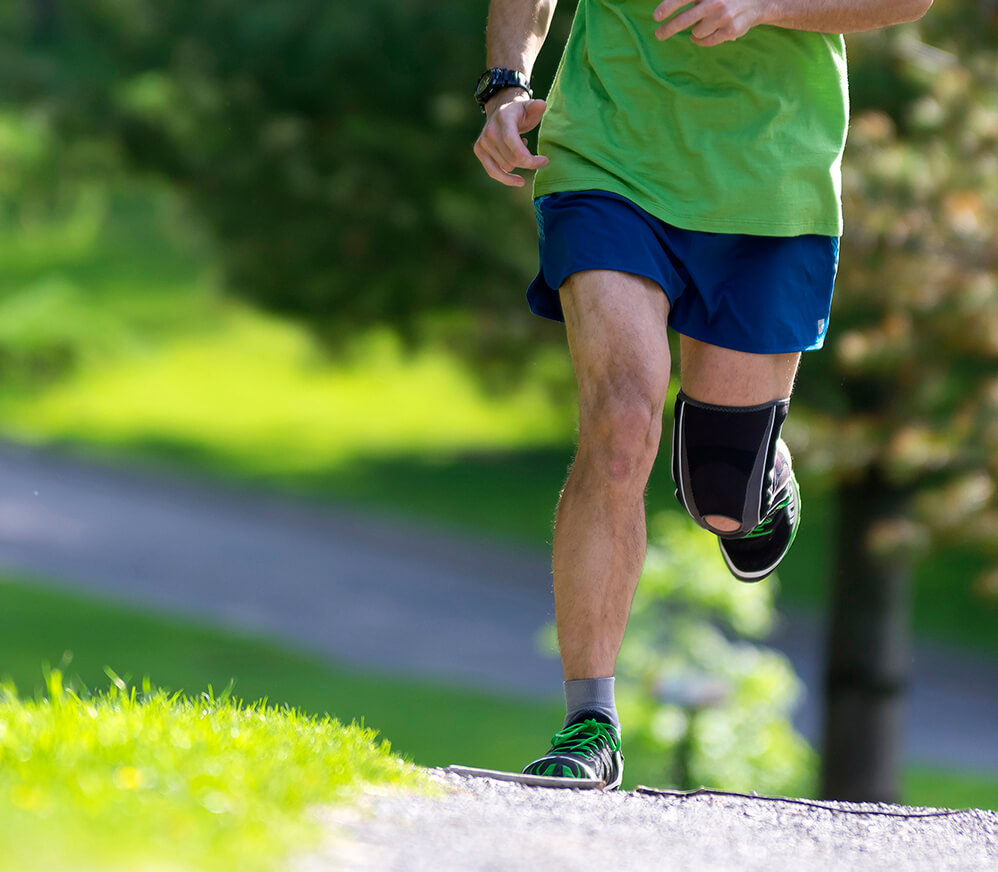 men, running, jogging, healthy, action, males, athletes, adults, exercising, sunglasses, sunlight, outdoors, summer, sport, training, vertical, gl, knee, injury, watch, trees, road, path